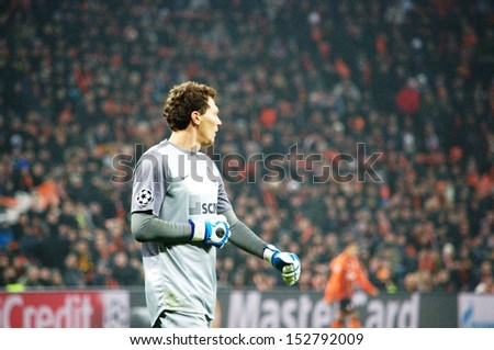 DONETSK, UKRAINE - DEC 5: Andriy Pyatov in the Champions League match between Shakhtar vs Borussia Dortmund, 5 December 2013, Donbass-Arena, Donetsk, Ukraine