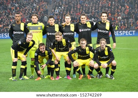 DONETSK, UKRAINE- FEB 13: Group photo Borussia Dortmund players before the Champions League match, 13 February 2013, Donbass-Arena, Donetsk, Ukraine - stock photo