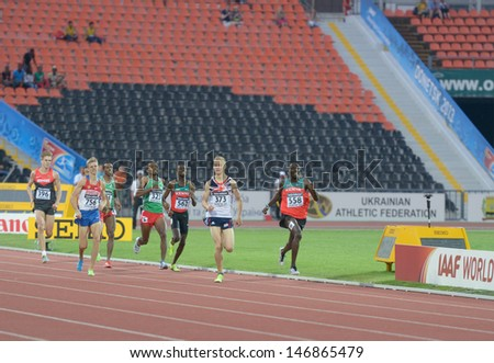 DONETSK, UKRAINE - JULY 13: Boys compete in the final of 800 meters during 8th IAAF World Youth Championships in Donetsk, Ukraine on July 13, 2013