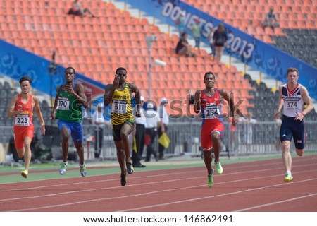 DONETSK, UKRAINE - JULY 14: Boys compete in the final of 200 metres during 8th IAAF World Youth Championships in Donetsk, Ukraine on July 14, 2013