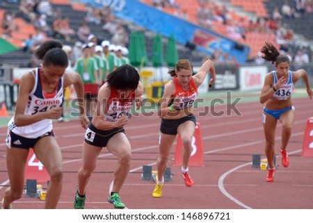 DONETSK, UKRAINE - JULY 13: Girls compete in semi-final of 200 m during 8th IAAF World Youth Championships in Donetsk, Ukraine on July 13, 2013