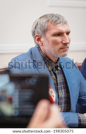 DONETSK, UKRAINE - JUNE 12: Alexey Zhuravlev during the press conference in the Donetsk Regional State Administration on june 12, 2014 in Donetsk.