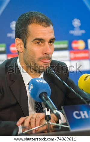 DONETSK, UKRAINE OCT. 1: Head Coach of  FC Barcelona Josep Guardiola gives an interview after the match of Champions League between FC Shakhtar and FC Barcelona on October 1, 2008 in Donetsk, Ukraine