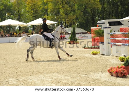 DONETSK, UKRAINE - SEPTEMBER 12: Competitor at the International jumping competition CSI3, on September 12, 2009 in Donetsk, Ukraine