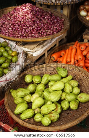 Dong Ba food market in Hue in Central Vietnam South East Asia - stock photo