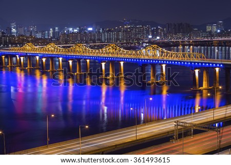 Dongho bridge and city scape in seoul,korea - stock photo