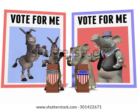 Donkey and Elephant Have a Political Debate - stock photo