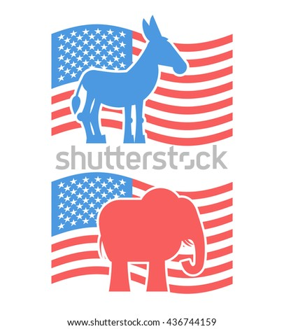 Donkey and elephant symbols of political parties in America. USA elections. Democrats against Republicans. Opposition to American policy. United States symbol of political debate - stock photo