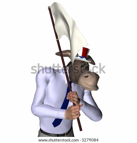 Donkey carrying a white flag. Democrat. Political humor. - stock photo