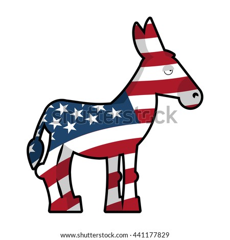 Donkey Democrat. Symbol of political party in America. USA Flag texture.  - stock photo