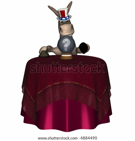 Donkey gazing into a crystal ball looking for his future and fortune.  Isolated on a white background. Democrat. Political humor. - stock photo