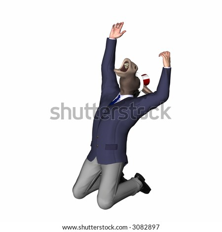 Donkey knelling with his head and arms in the air yelling in frustration. Democrat. Political humor. - stock photo