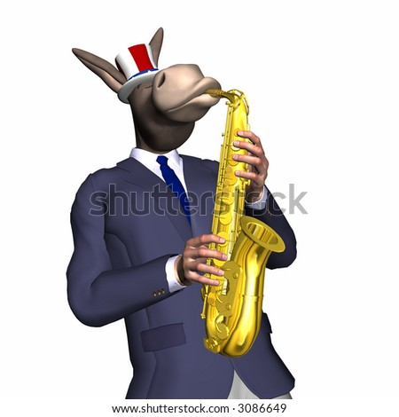 Donkey playing the saxophone.  Isolated on a white background. Democrat.  Political humor - stock photo