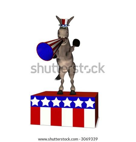 Donkey standing on a platform speaking through a megaphone. Democrat. Political humor. - stock photo