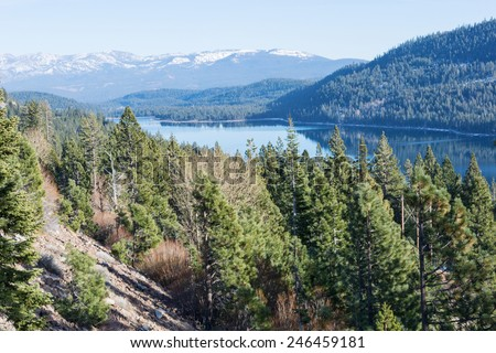 Donner Lake in winter, Truckee, California - stock photo