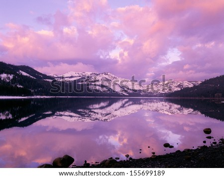 Donner Pass Lake Sunrise - stock photo