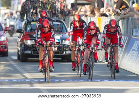 DONORATICO, LIVORNO, ITALY - MARCH 07: Team BMC Racing during the 1st Team Time Trial stage of 2012 Tirreno-Adriatico on March 07, 2012 in Donoratico, Livorno, Italy