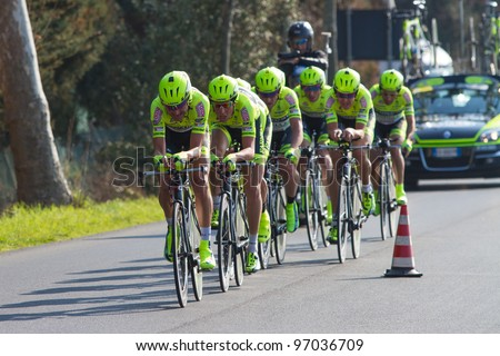 DONORATICO, LIVORNO, ITALY - MARCH 07: Team Farnese Vini during the 1st Team Time Trial stage of 2012 Tirreno-Adriatico on March 07, 2012 in Donoratico, Livorno, Italy - stock photo