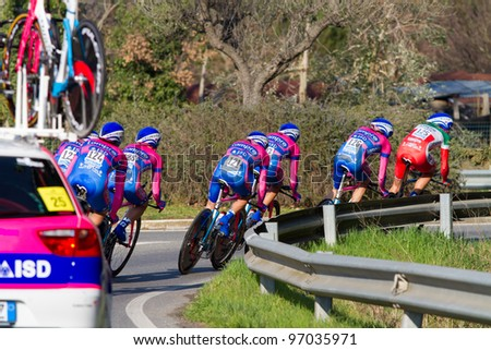 DONORATICO, LIVORNO, ITALY - MARCH 07: Team Lampre - ISD during the 1st Team Time Trial stage of 2012 Tirreno-Adriatico on March 07, 2012 in Donoratico, Livorno, Italy - stock photo