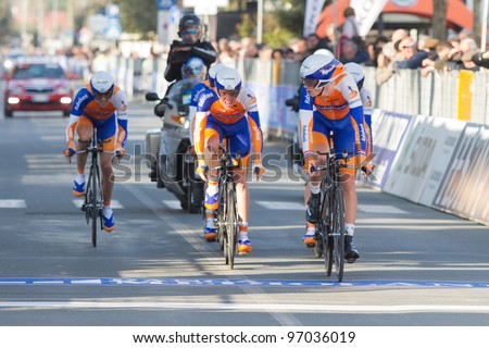 DONORATICO, LIVORNO, ITALY - MARCH 07: Team Rabobank during the 1st Team Time Trial stage of 2012 Tirreno-Adriatico on March 07, 2012 in Donoratico, Livorno, Italy