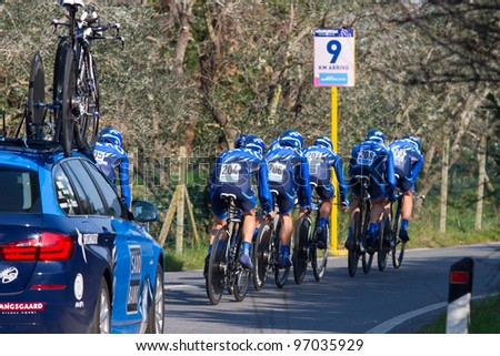 DONORATICO, LIVORNO, ITALY - MARCH 07: Team Saxo Bank during the 1st Team Time Trial stage of 2012 Tirreno-Adriatico on March 07, 2012 in Donoratico, Livorno, Italy - stock photo