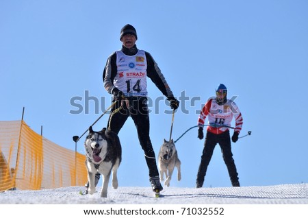 DONOVALY, SLOVAKIA - FEBRUARY 12: Geringer Walter of Austria participates in the 10th World Championship F.I.S.T.C. February 12, 2011 in Donovaly, Slovakia. - stock photo