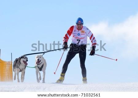 DONOVALY, SLOVAKIA - FEBRUARY 12: Marcel Matanin of Slovakia participates in the 10th World Championship F.I.S.T.C. February 12, 2011 in Donovaly, Slovakia. - stock photo
