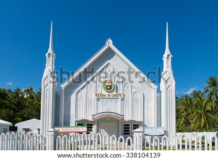 DONSOL, PHILIPPINES - MAY 31, 2015: Catholic church exterior. Iglesia ni cristo means in Philippine language (tagalog) church of christ. It stands for the largest independent christian church in asia. - stock photo
