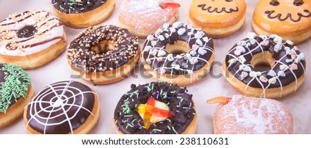 donut. Assorted donuts on background