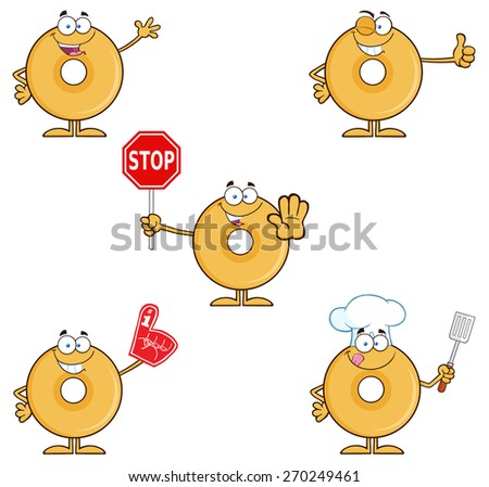 Donut Cartoon Character 2. Raster Collection Set Isolated On White - stock photo