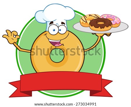 Donut Cartoon Character Wearing A Chef Hat And Serving Donuts Circle Label. Raster Illustration Isolated On White - stock photo