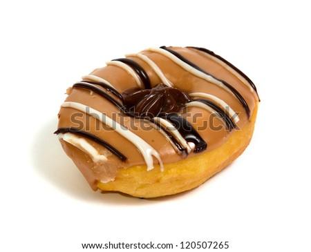 Donut closeup shot isolated on white - stock photo