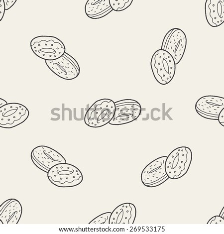 donut doodle seamless pattern background - stock photo