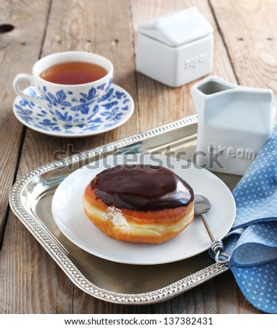 Donut filled with cream - stock photo