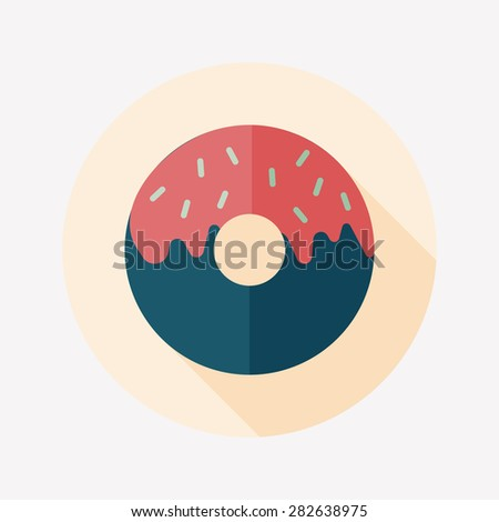 Donut flat icon with long shadow