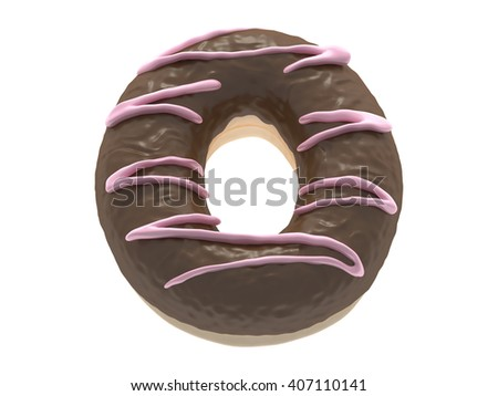 Donut font chocolate cream. 3d rendering - stock photo
