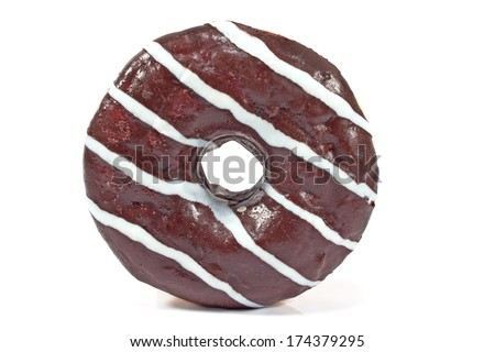 Donut in chocolate glaze with stripes isolated on white  - stock photo