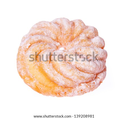 donut isolated on white, glazed french crullers twisted doughnut - stock photo