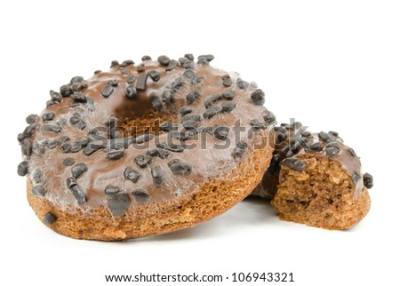 donut overgrown with fungus - stock photo