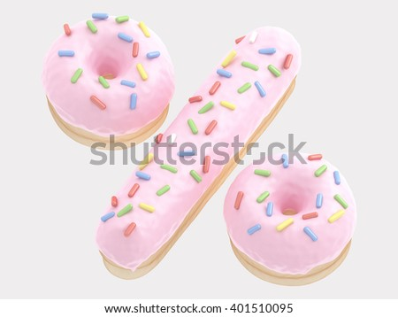 Donut percent pink cream. 3d rendering - stock photo