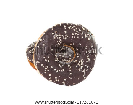 donut with chocolate isolated on white background