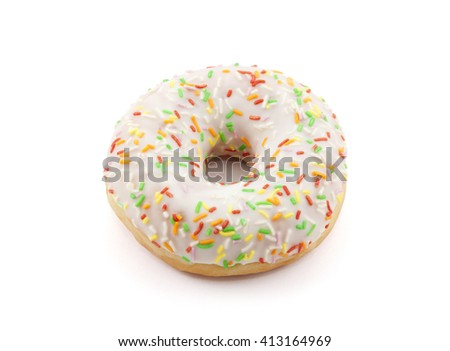 Donut with colorful sprinkles isolated on white with clipping path  - stock photo