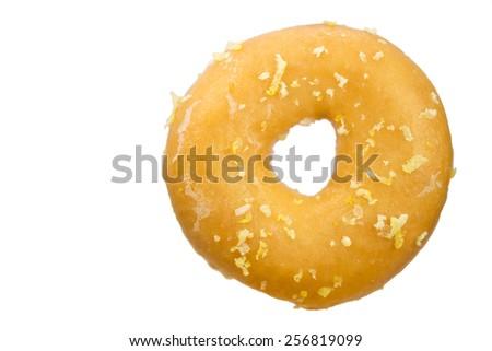 Donut with Lemon Zest, white background - stock photo