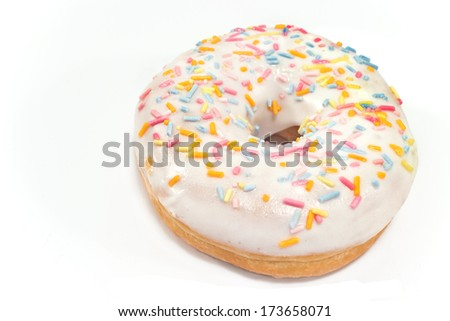 Donut with sprinkles isolated on white  - stock photo
