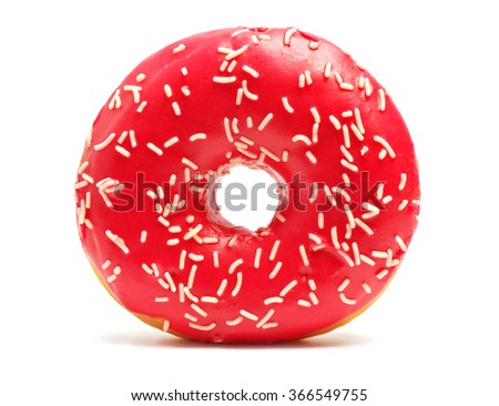 Donut with sprinkles on white background. Red donut isolated on white background
