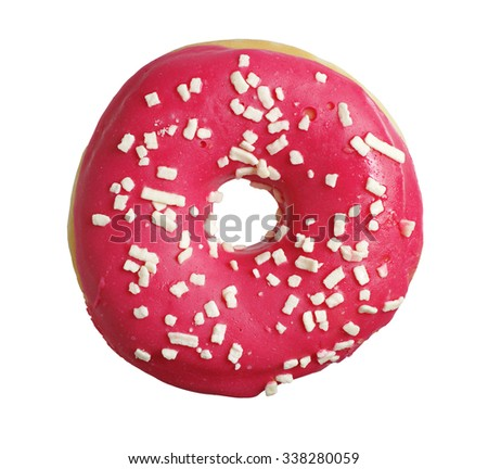Donut with strawberry icing isolated on white background - stock photo