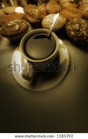 donuts and cofee - stock photo