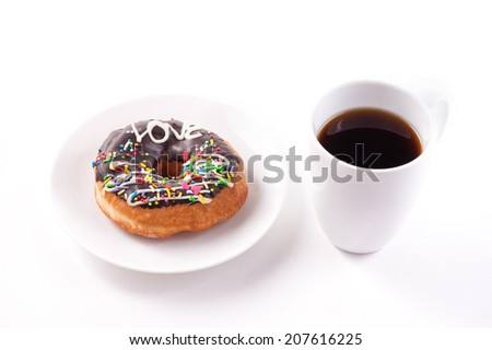 Donuts and coffee cup isolated on white background