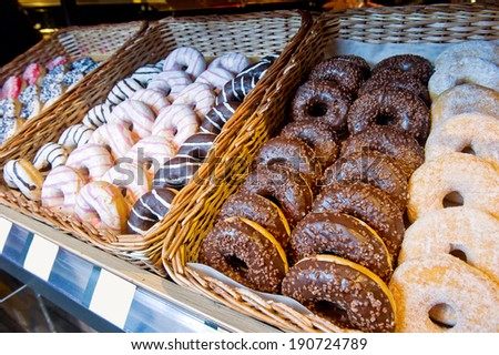 donuts for sale in the shop at the bazaar - stock photo