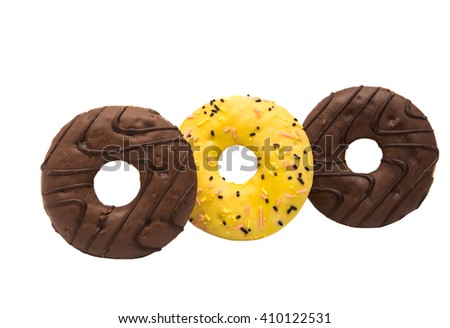 donuts in glaze isolated on white background